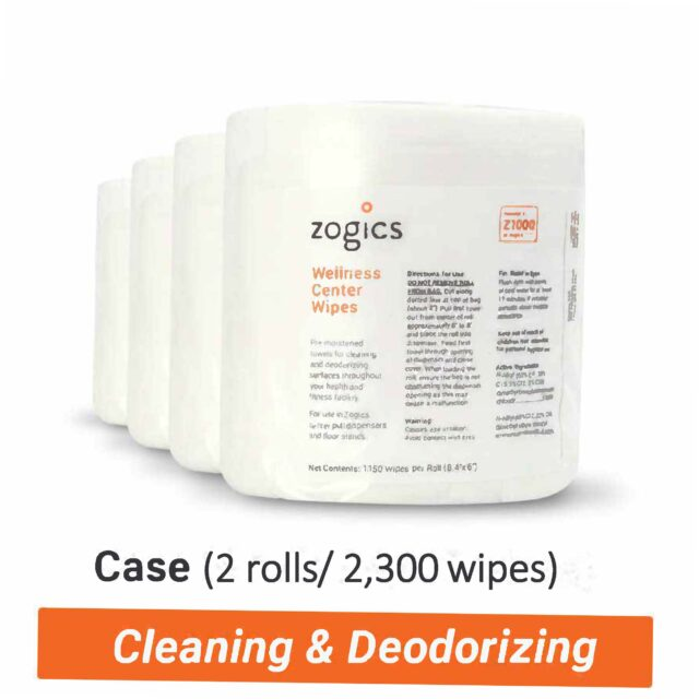 Wellness Gym Wipes by Zogics for gym cleaning 2 pack