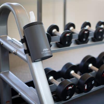 Hygenix-Gym-Wipe-Dispenser-on-Dumbbell-rack-Aktiv
