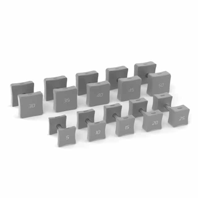 forma grey square dumbbell set for home gym workouts